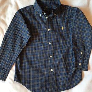Ralph Lauren cotton blue plaid long sleeve shirt